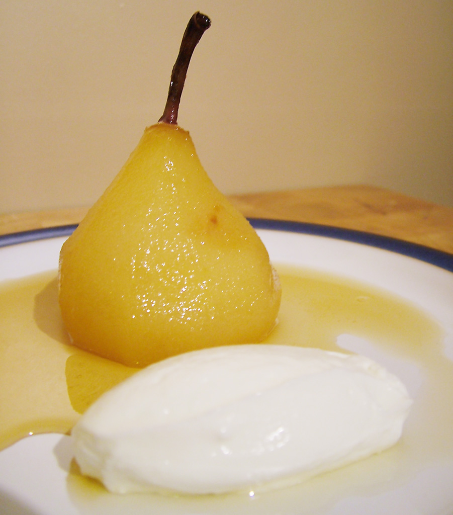Spiced Poached Pear With Chocolate Sauce Recipes — Dishmaps