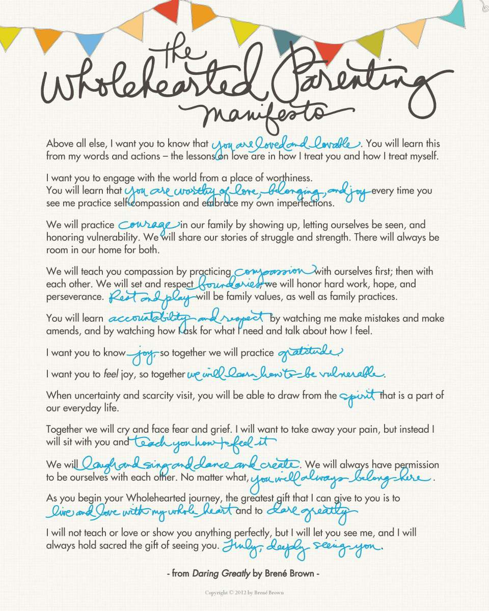 Wholehearted Parenting Manifesto - Happy Family Day!