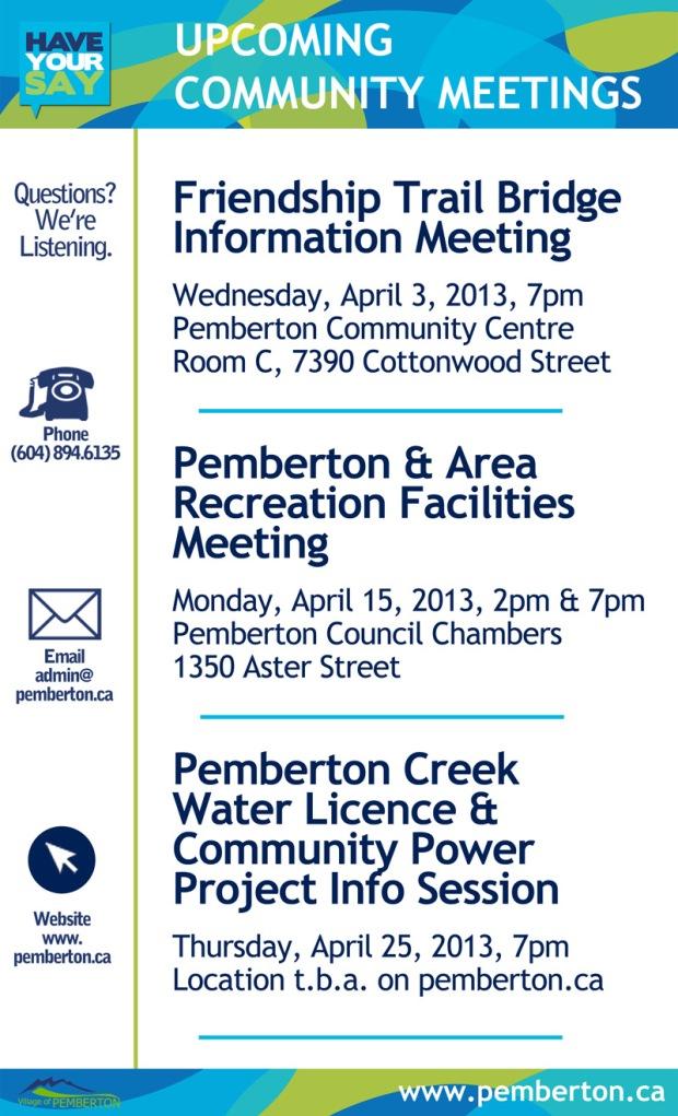 Pemberton Community meetings