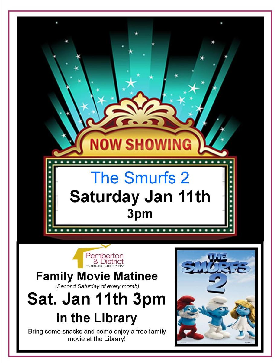 Family Movie Matinee at the Library showing The Smurfs, Jan 11