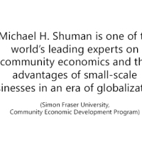 Speaker Series: Local Economies Expert Michael Shuman, tonight