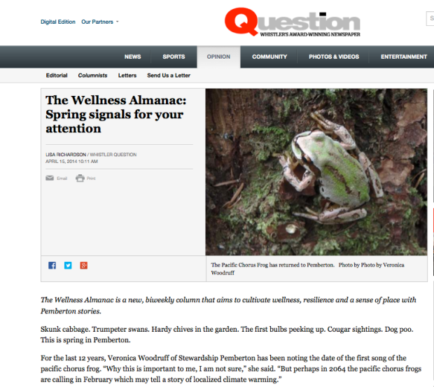 Wellness Almanac column 1 April 14 2014