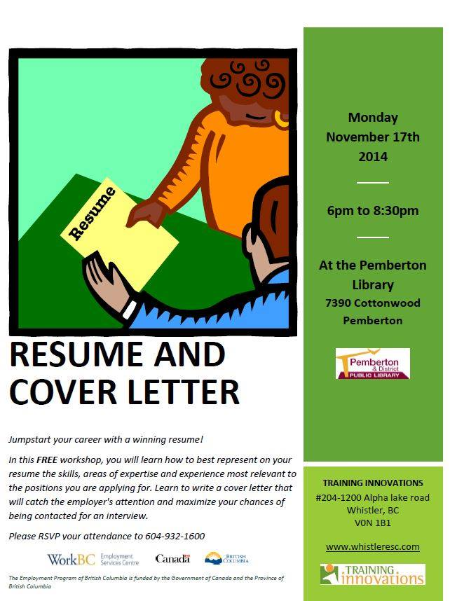Free Resume And Cover Leatter Writing Workshop At The Library  Free Resume Writing Services