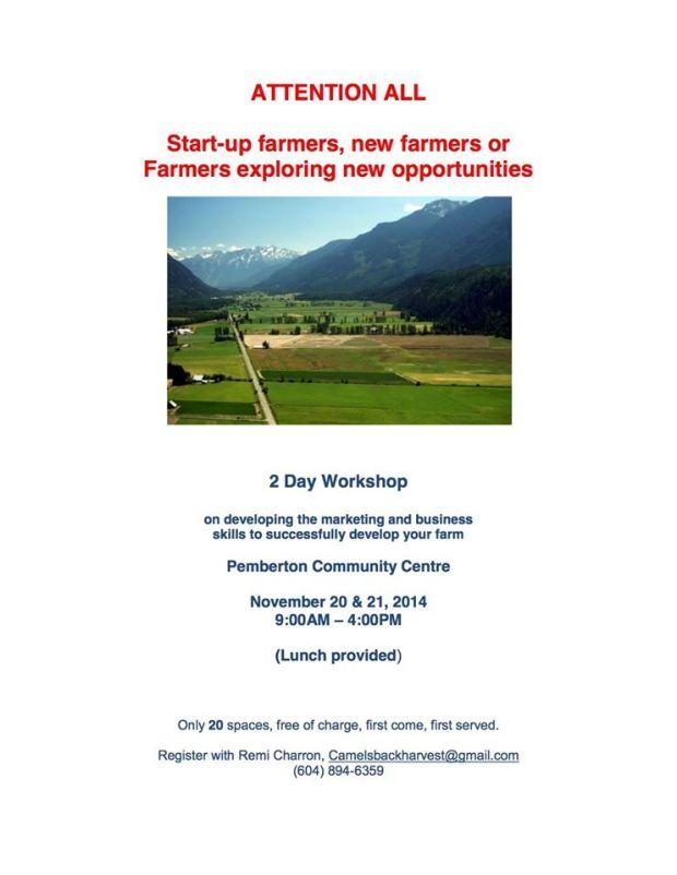 Marketing workship for farmers in Pemberton