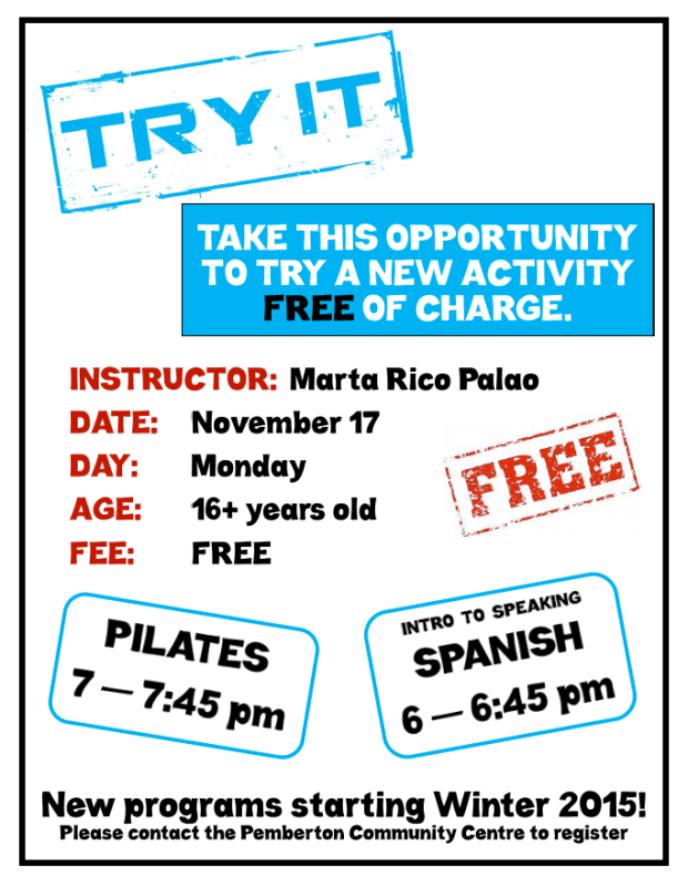 Try free Spanish or Pilates taster at Pemberton COmmunity Centre November 17