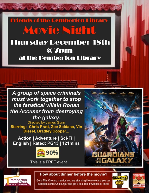 LIbrary Movie Night Guardians of the Galaxy