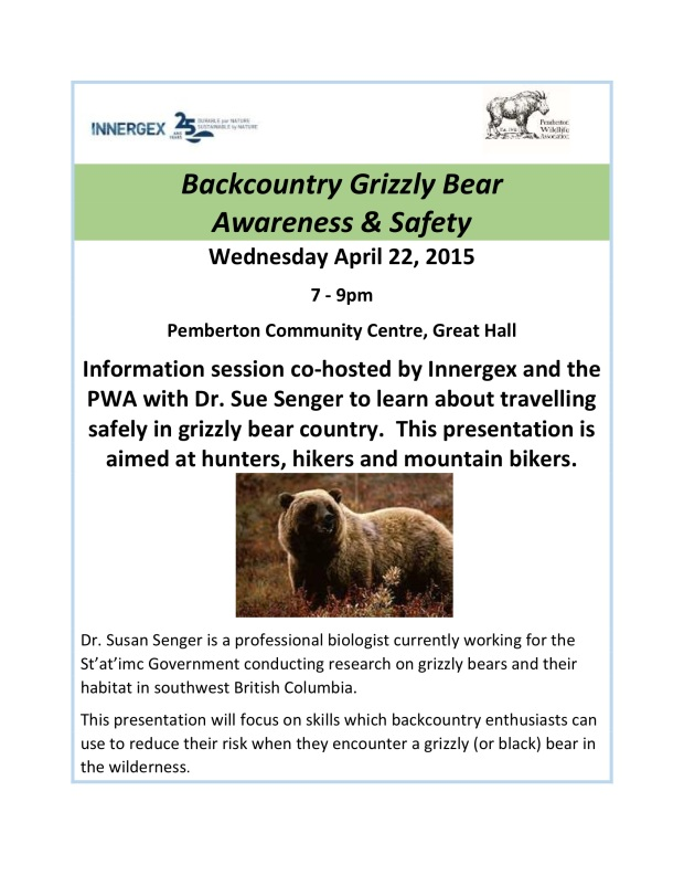 Grizzly Awareness for backcountry adventurers April 2015
