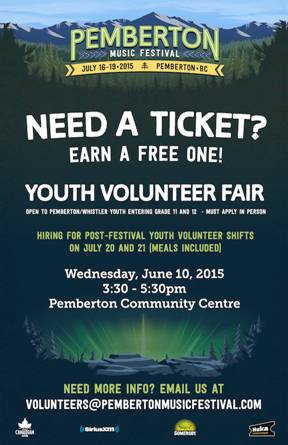 Pemberton Festival Pemberton youth volunteer gigs
