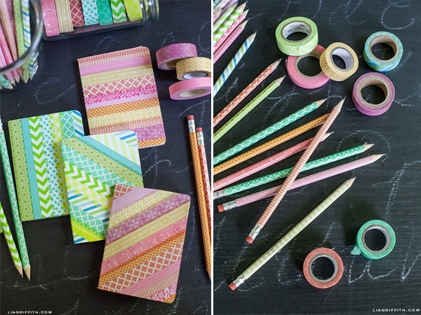 13-8-11_Back to school DIY washi tape notebooks pencils