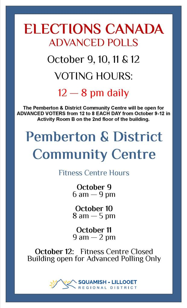 Election Advance Poll at Community Centre for Pemberton