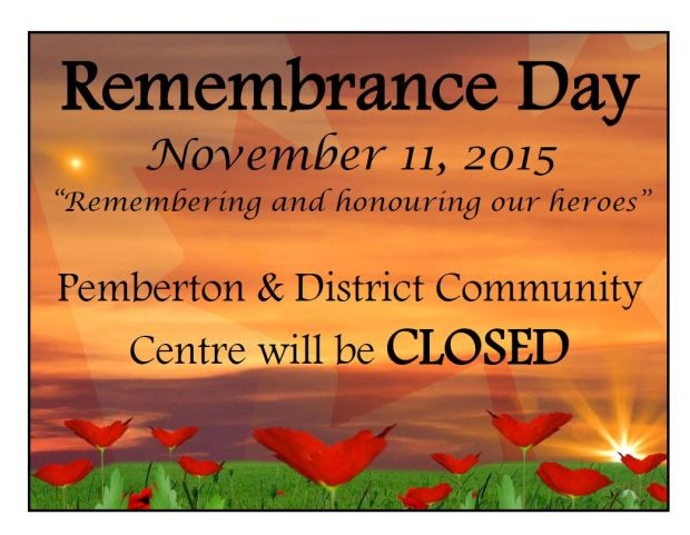 Remembrance Day closure for Cty Centre 2015