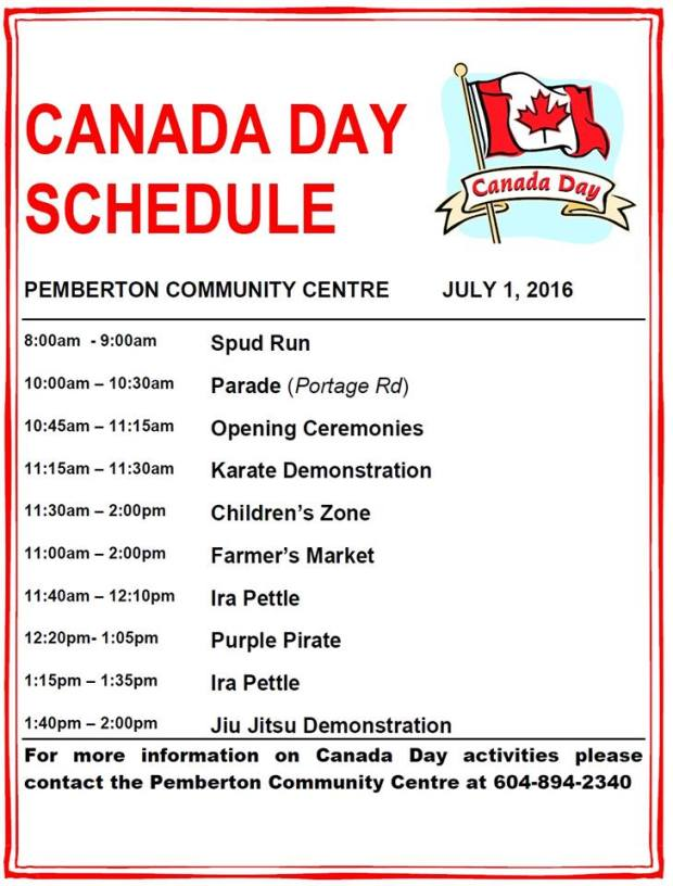 Canada Day schedule for Pemberton
