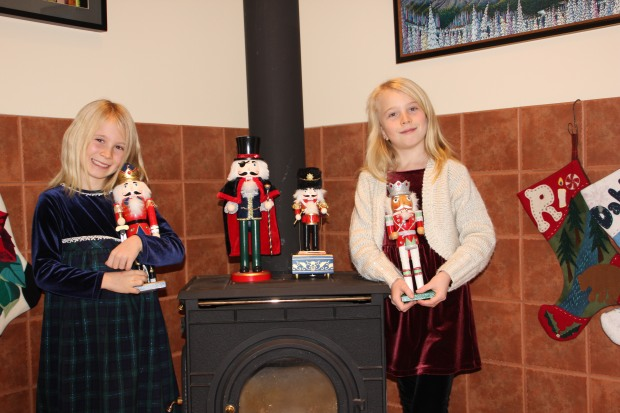 Dahlia (left) and Rio Lambrecht with their Nutcracker collection, Nov 2016.jpg