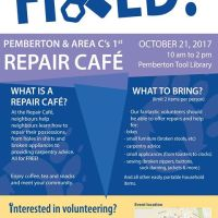Pemberton's first Repair Cafe is coming, Saturday October 21