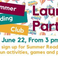 Summer Reading Club Launch party at the library, Friday June 22, 3-4pm