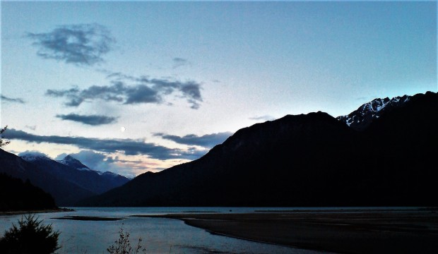 Moon at dusk over Lillooet Lake