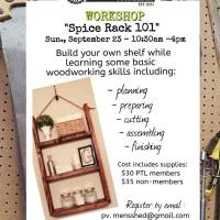 Time to get handy? Pemberton Men's Shed and Tool Library offers a workshop, Sep 23, to build your own spice rack