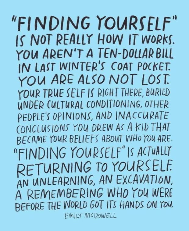 Finding yourself is not really accurate
