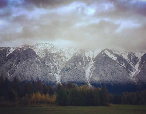 The snowline down Mt Currie time to swtich the wardrobe Oct 2 2018 Photo by Mhairi Marcella