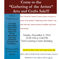 Lil'wat's Annual Gathering of the Artists moves to the new Ts'zil building, Sunday December 9 10am - 4pm