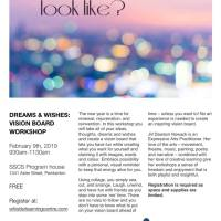 Free vision board workshop presented by the Dream Makers Literacy Coalition, Feb 9, 9:30 - 11:30am