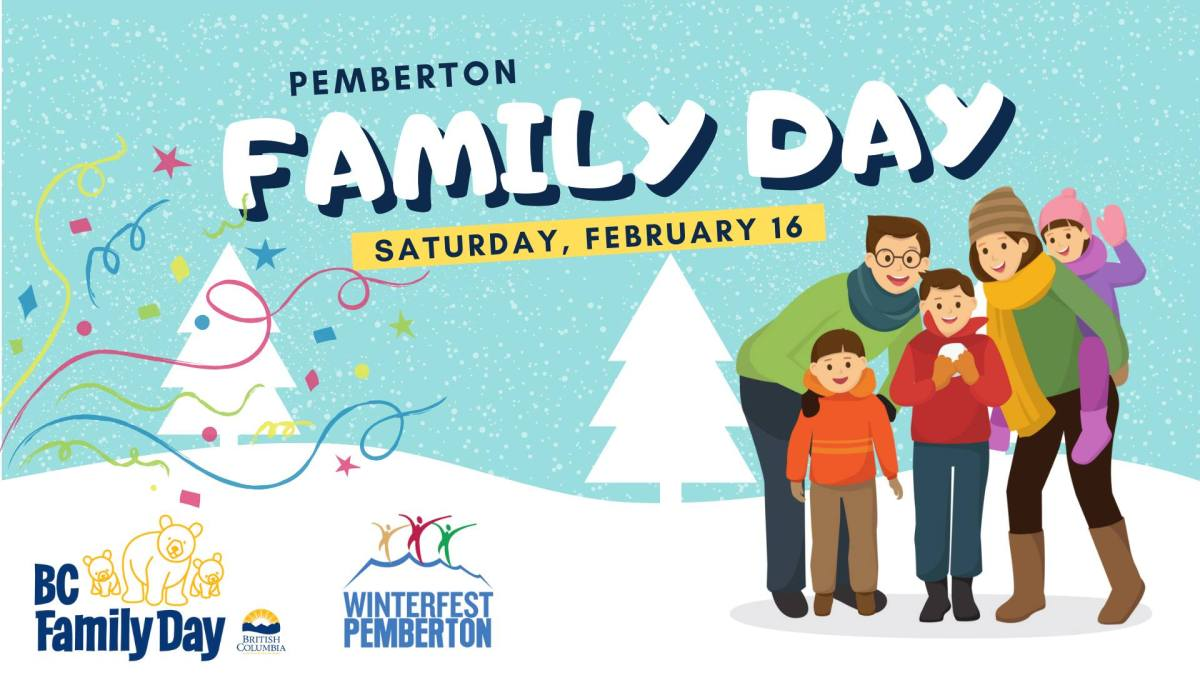 Family Day celebrations will take place at the Pemberton & District Community Centre on Saturday February 16. The facility (gym and library) will be closed on Feb 18.