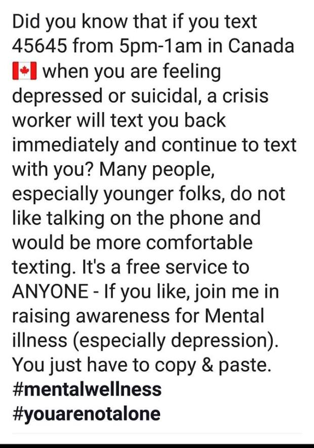WoCh mental health number to text
