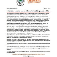 Seton Lake beaches and boat launch closed to the general public as part of measures to prevent the spread of COVID19
