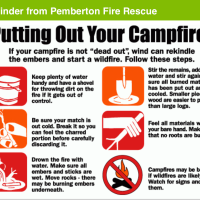 Burning restrictions prohibit bonfires, fireworks, big burns. Campfires are still okay, so please be super super careful