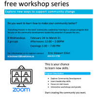 Start Creating the Community You Want: free workshop 6 week series with teacher Yvonne Wallace