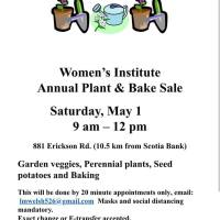 Women's Institute Plant and Bake Sale coming up, May 1